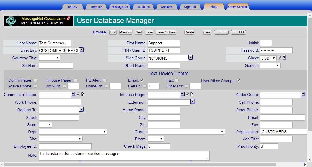 sample user database manager
