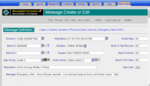 Active Shooter Message Creation